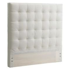 West Elm Tall Grid-Tufted Headboard, King, Leather, Ivory - White