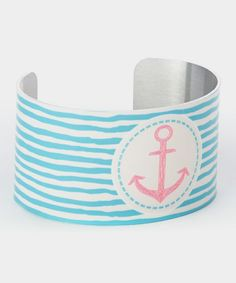 Turquoise & Pink Anchor Stripe Cuff
