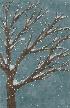 "An Evening In December   Machelle Somerville  Hand Painted Canvas  16g, 14"" x 9"""