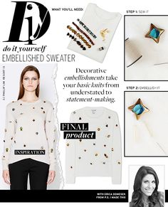 Make your own embellished sweater in 3 easy-to-follow steps! via @WhoWhatWear