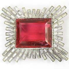 Trifari 'Alfred Philippe' Giant Square Cut Ruby Starburst Pin