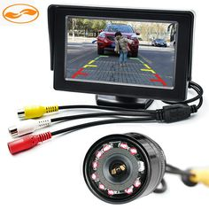 """Free Shipping 2 In 1 4.3"""" Car Rearview TFT LCD Monitor Stand on the Dashboard + 10 IR LEDs Rear Reversing Camera Night Vision"""