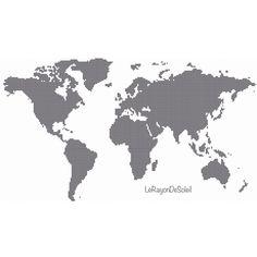 Modern cross stitch pattern five continents map by LeRayonDeSoleil
