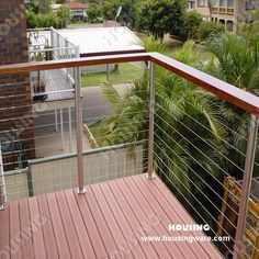 Modern wood and cable railing