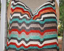 Decorative Zig Zag Pillow Cover -Geometric Pillow - Modern Stripe Red Orange Turquoise Grey Pillow - Bright Color Throw Pillow - Chevron