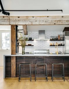 Designing Brick Kitchens for Your Style Home   Fireclay Tile Modern Farmhouse Kitchens, Rustic Kitchen, Farmhouse Design, Brick Tiles Kitchen, Gray Shower Tile, Glazed Brick, Kitchen Room Design, Kitchen Reno, Kitchen Remodel
