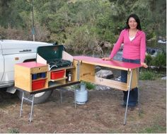 This looks like an awesome camp kitchen design. It sets up quickly, stores all your camp kitchen equipment, and even doubles as a bench.
