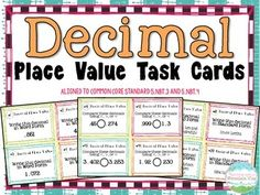 Decimal Place Value Task Cards.  A complete set of 60 decimal place value task cards that are Common Core Aligned! Answer key and answer recording sheet included. Use these cards in a variety of ways, included math centers, assessment, review, homework, etc.   Decimals topics covered (to the thousandths): Expanded Form Standard Form Word Form Rounding Comparing$