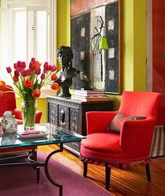 Orange and Fuschia - this room is perfection.  What about the Chartreuse!