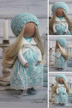 Art doll handmade pregnant turquoise white Collectable doll Decor doll Tilda…
