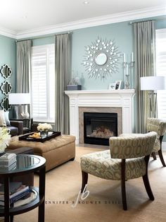 Living Room | Great Room | Color Palette Aqua Blue | Sea Foam Green