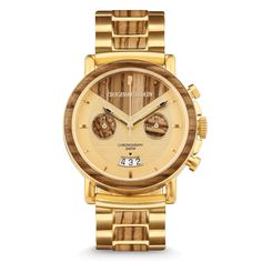 Gold Chain Men Outfit Capitol Alterra Chrono by Original Grain - Capitol Chrono Made from all-natural zebrawood. Features a case, wood bezel inlay, brushed gold stainless steel, sapphire crystal glass cover, Stylish Watches, Luxury Watches For Men, Cool Watches, Casual Watches, Cheap Watches, Fine Watches, Unique Watches, Popular Watches, Versace