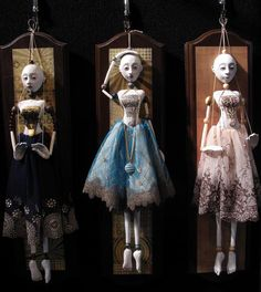 Puppets  Limited edition in mixed media.  I own the one on the far right. Beautifully crafted by Friedericy Dolls.