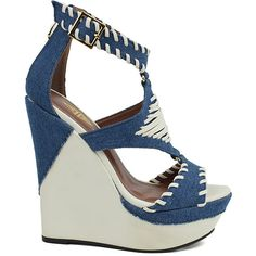 Athena Footwear Denim Greece Wedge Sandal ($30) ❤ liked on Polyvore featuring shoes, sandals, wedge heel shoes, mid heel wedge sandals, high heel platform wedge sandals, high heel wedge sandals and high wedge shoes
