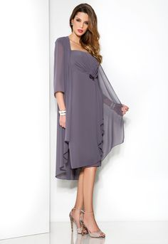 2014 Fashion New Ruffled Chiffon Plus Size Mother Of The Bride And Groom Wedding Dress Tea Length With Jacket US $169.99