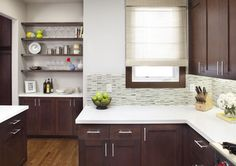 White bench tops to go with dark wood cabinets