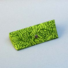 Green Printed Fabric Cover Spectacle Case - 6.5 x 3 Inch