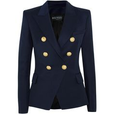 Balmain Double-breasted wool-twill blazer ($1,560) ❤ liked on Polyvore featuring outerwear, jackets, blazers, balmain, twill jacket, balmain blazer, double breasted wool blazer, double breasted blazer and blue double breasted jacket