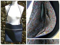 #Sac Flo (version fermeture) cousu par Marie-Annick en simili cuir bleu et Liberty. Patron de couture Sacôtin