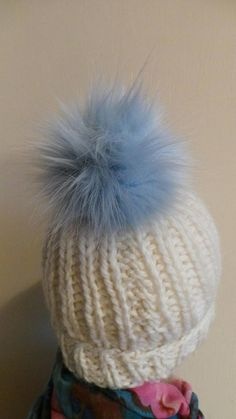 7f002762 Spare Powder Blue Faux Fur 12-16 cm Pom Pom Bobble for hat with press stud.  long fur. Large Detachable . 45 colours available
