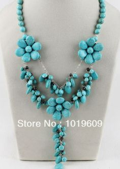 Free Shipping pretty style turquoise Y shape flower necklace