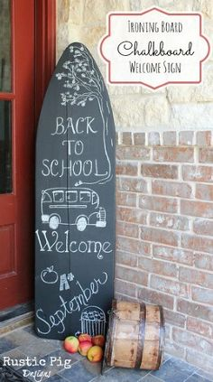ironing board chalkboard welcome sign, chalkboard paint, crafts, repurposing upcycling, seasonal holiday decor, Completed Ironing Board Chalkboard Welcome Sign