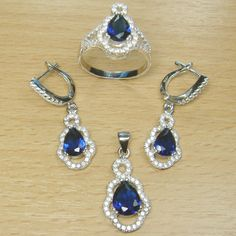 Micro Setting Pear Cut Blue White CZ 925 Sterling Silver Jewelry Set