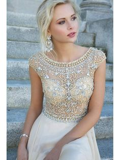 Scoop A-line/Princess Short Sleeves Beading Rhinestone Floor-length Dress DressyWell