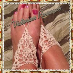 Beautiful lacy hand-crocheted barefoot sandals. Perfect for a romantic outdoor wedding. One size fits most. Ties at heel.