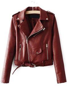 Moto Jacke Kunstleder mit Reißverschluss - braun