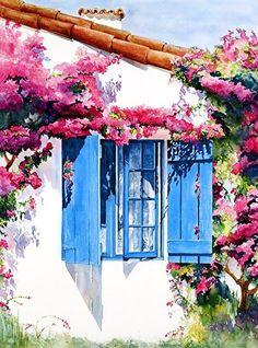 La Ventana Azul by Suzanne Shaffer Watercolor