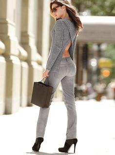 Miranda Kerr - All in Gray. LOVE this sweater!