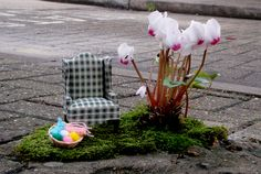 """I love to see some Pothole Gardens: The pothole gardener is a guerrilla gardener who turns potholes in London into """"street"""" art. Yarn Bombing, Sculpture, East London, Artist At Work, Artsy Fartsy, Nicu, At Least, The Incredibles, World"""