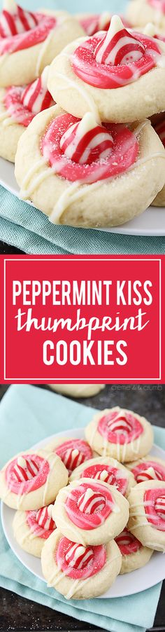 Peppermint Kiss Thumbprint Cookies - Soft thumbprint sugar cookies with a creamy white chocolate center and topped with a peppermint kiss! Christmas Snacks, Christmas Cooking, Holiday Treats, Holiday Recipes, Winter Recipes, Thumbprint Cookies, Xmas Cookies, Yummy Cookies, Cookies Soft