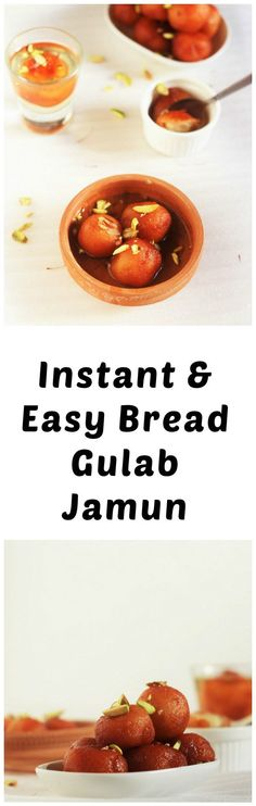 Instant Bread Gulab Jamun Recipe - A very simple and easy to make Gulab Jamun recipe made with bread slices. Nothing can get better than this with using the left over bread. #gulabjamun #indiansweet #indiandessert #halalrecipe #indiansweetrecipe #breadgulabjamun