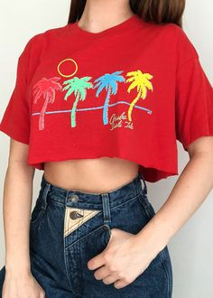 Aruba Tourist Tee – Retro and Groovy Waves Wallpaper Iphone, 80s Pants, Groovy Font, Girls Crop Tops, Beach Kids, Material Girls, Vintage Tees, Aesthetic Clothes, Vintage Outfits