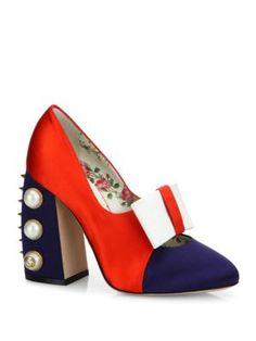 938bef78b53 GUCCI Luna Studded Block-Heel Colorblock Satin Pumps.  gucci  shoes  pumps