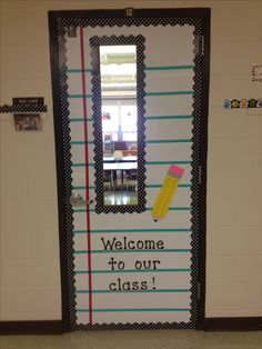 My classroom door. Hope it kinda looks like notebook paper. =)