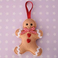 Gingerbread Man Felt Tree Ornament by hannahdoodle on Etsy