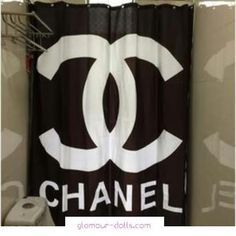 Black Chanel Shower Curtain - Glamour Dolls