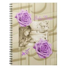 Carousel Dreams Purple Roses & Music Notebook by MoonDreams Music #notebook #baby #mom #roses #purple #babyshower #guestbook #notes