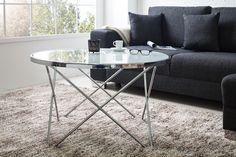 Design Couchtisch ORBIT 85 cm chrom weiß Beistelltisch Tisch Tische rund | eBay