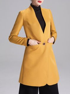 Shop Trench Coats - Pockets Long Sleeve Work Polyester Trench Coat online. Discover unique designers fashion at StyleWe.com.
