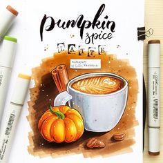 What do you think about pumpkin spice #latte? ☕️ Несмотря на жуткий аврал и катастрофическую нехватку времени, не могу не поучаствовать в #экстримскетчинг2 с Аней Расторгуевой :)) А вы уже пробовали #тыквеннопряныйлатте в #старбакс? Как он на вкус?