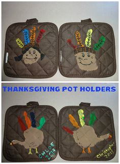 handprint indians and turkeys potholders for thanksgiving