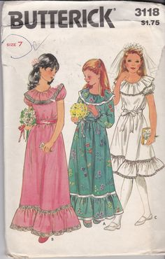 NEW AND UNCUT! Vintage 1980's Butterick 3118 Size 7 Girls First Communion Dress, Flower Girl Dress, Special Occasion or Easter Dress by TreasuresFromGranny on Etsy