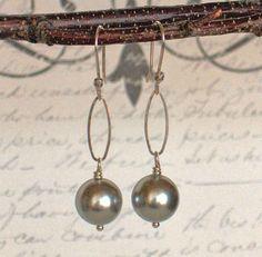 Gray Pearl Earrings Grey Pearl Dangle Earrings by BlueWaveJewelry, $38.00