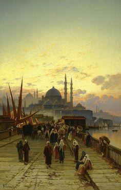 """The Galata Bridge Constantinople"", Painting by Hermann Corrodi, Italian, 1844 - 1905 Constantinople : Now Istanbul, Turkey Art Arabe, Arabian Art, Art Asiatique, Islamic Paintings, Academic Art, Pics Art, Turkish Art, Greek Art, Art Academy"