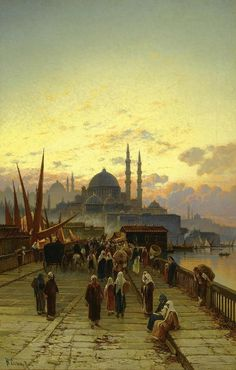 The Galata Bridge, Constantinople - Hermann Corrodi 19th century