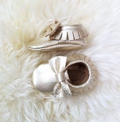 Metallic Platinum Leather Moccasins for babies and by Knottytots, $40.00